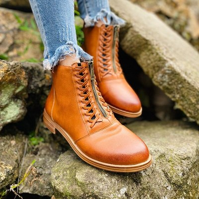 2020 New Winter Women Motorcycle Boots Fashion Zipper Ankle Boots Thicken Plush Warm Block Heel Fall Boots Botas