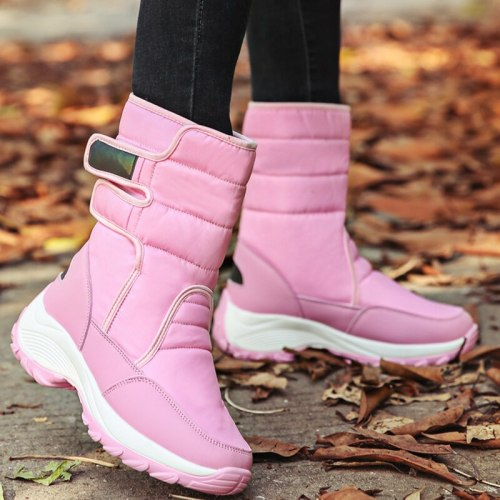 Waterproof Boots Women Winter Shoes Platform Boots WithThick Fur Mid-Calf Snow Boots  Fashion Wedge Botas Shoes Woman