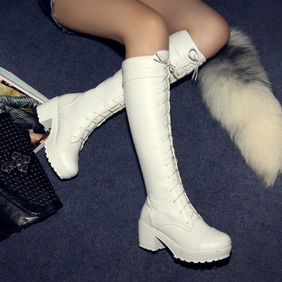 2020 New Fashion White Boots Women Shoes Lacing Martin Boots Female Platform Thick Heel Plus Size Boots High-Leg Boots Female
