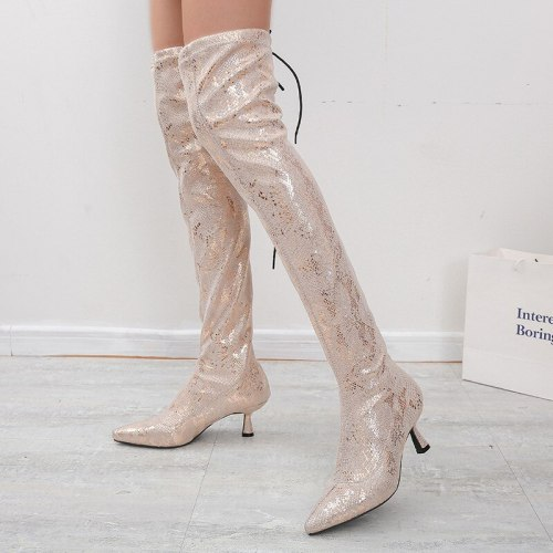 Long Boots Women Leopard Grain Serpentine High Heel Boots Pointed Toe Sexy Club Boots Thigh High Over-the-Knee Boots Women Shoes