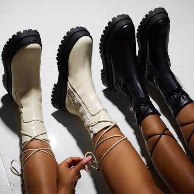 Women Platform Warm Shoes Fashion Mid-Calf Boots Ankle Boots Zipper Leather
