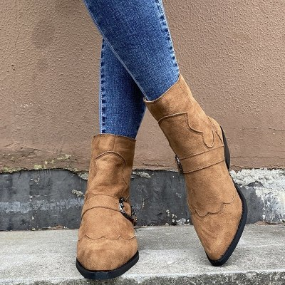 Chic Retro High Heel Ankle Boots Female Mid Heels Casual Botas Booties