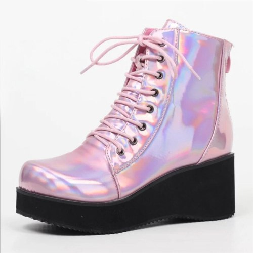 Winter Fashion High Platform Boots Leather High Wedges Ankle Boots Women 2020 New Female Punk Style High Heels Shoes For Woman