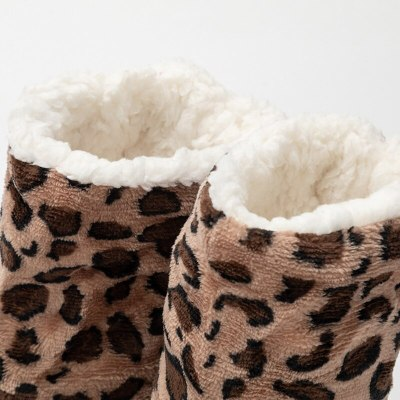 Women's slippers beautiful Leopard Floor slippers Woman home shoes indoor warm plush ladies boots sneakers comfortable Non-slip
