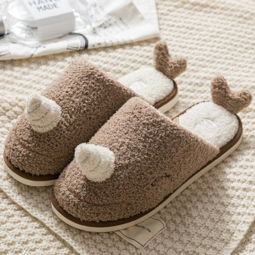 New Warm Winter  Home comfortable bedroom couple shoes Woman cartoon plush shoes