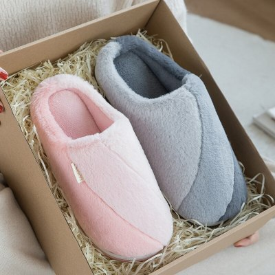 Women slippers home Winter Furry slippers Fashion Non-slip house Cotton slippers