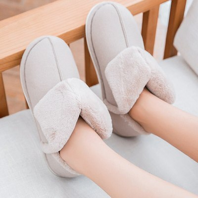 Women's slippers Windproof warm plush winter sewing concise Soft comfortable casual shoes