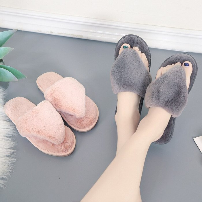 Winter Home Slippers furry slides cosiness with fur indoor fluffy slippers