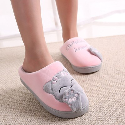 Women's slippers Winter Keep warm Cute Cat Cartoon slippers for girls Indoor Non slip Comfy Home shoes woman Suede Velvet
