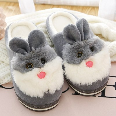 Women fur slippers Cute rabbit slippers Winter Keep warm Indoor shoes Non slip Soft Funny slippers