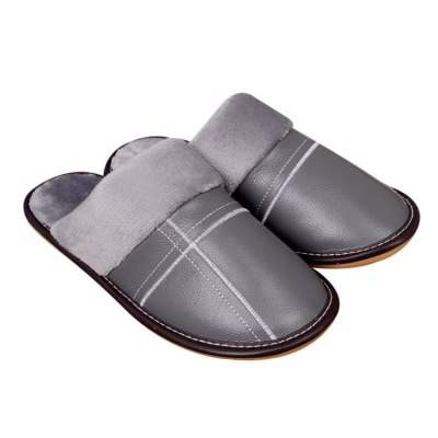 genuine leather Female Slippers Winter furry Cotton shoes Non-slip House slippers Comfortable warm 2020 woman shoes waterproof