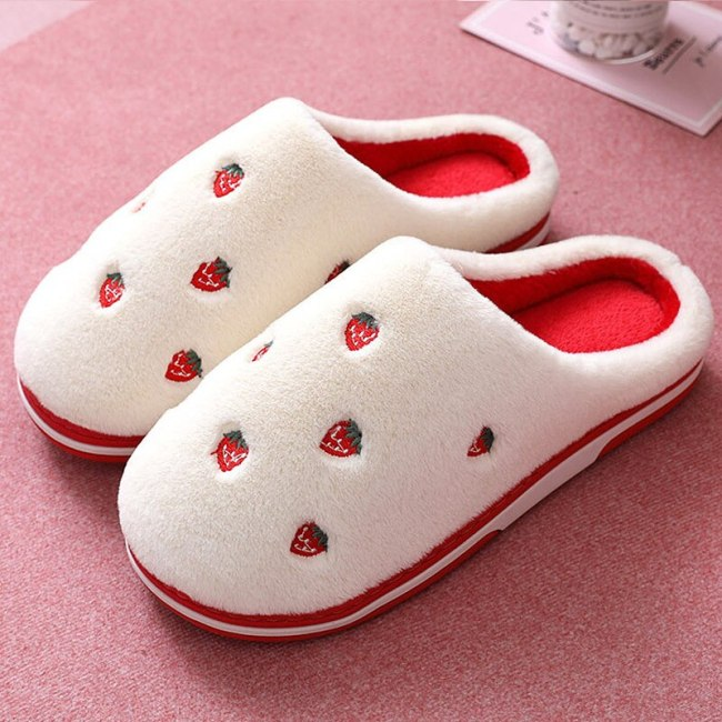 Winter Women Slippers Cute Suede fruit cotton Shoes Warm home slippers Non-slip Women