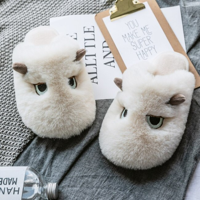 Winter furry slippers women fashion Cartoons home slippers cozy soft warm Indoor couple shoes Non-slip large size