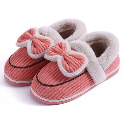 Ladies shoes butterfly-Knot stripe women slippers cute pink home non-slip rubber slippers indoor warm soft plush shoes woman