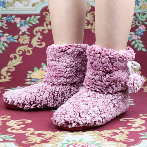 Women Tie-dyed Velvet Non-slip soft slippers For Warm Cotton furry women shoes