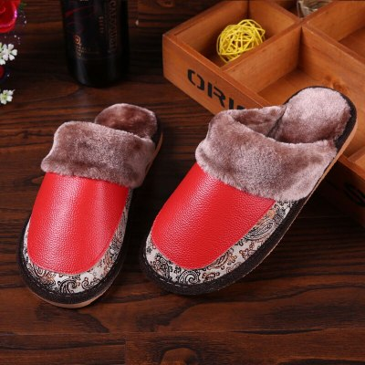 Genuine Leather Retro Female Slippers Sewing embroider Home Slippers women Flannel Warm furry soft slippers