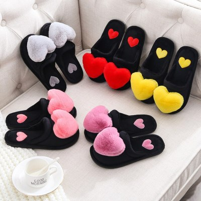 2020 Fashion Women Cotton Slippers Ladies Winter Cute Love Heart Plush Flat With Indoor Non-slip Woman Warm Slippers