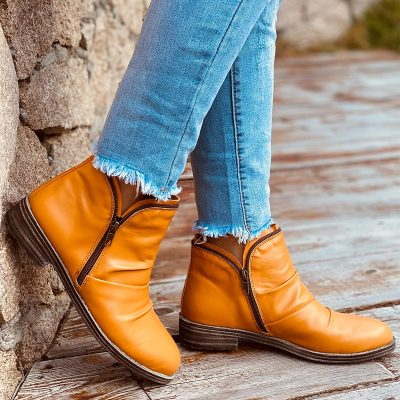 Autumn Winter Women PU Leather Ankle Boots Women  Zipper Vintage Women Punk Boots Flat Ladies Shoes Short Snow Boots Mujer
