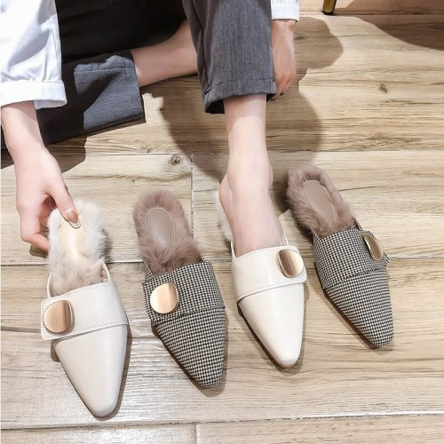 Women winter plush furry slides plaid fashion woman shoes