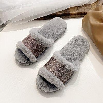 Ladies indoor warm slippers open-toe bling woman furry women sweet shoes