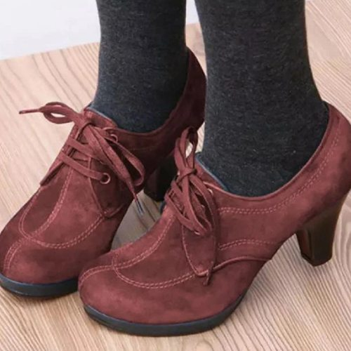 2020 New Women Ankle Boots Lace up High Heels Woman Suede Fashion Botas Mujer Ladies Sewing Platform Women's Female Shoes