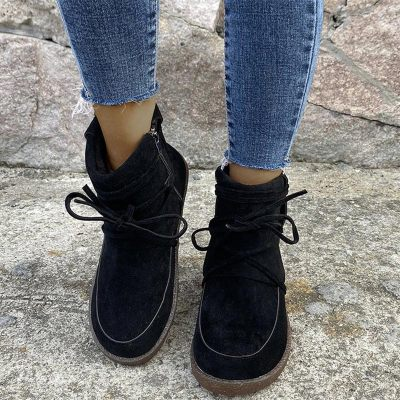Ladies Flat Shoes Ankle Boots Warm Footwear Casual Comfort Shoes