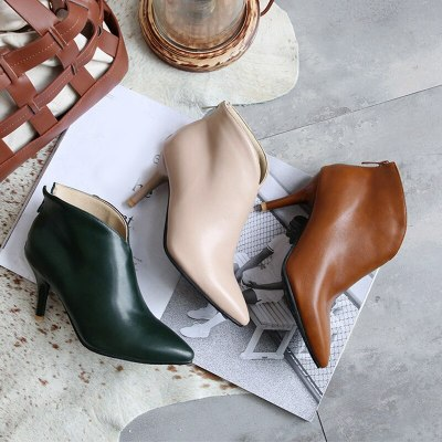 Ankle Boots Solid PU Zip Fashion Sexy Thin Heel Shoes Soft Leather