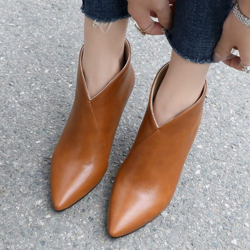 Autumn Women Ankle Boots Solid PU Pointed Toe Zip Fashion Sexy Thin Heel Shoes Ladies Plush Inside Shoes Soft Leather