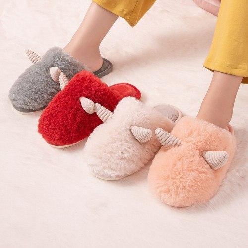 Fashion Women Warm Slipper Warm Indoor Slippers Anti-slip  Fur Soft Lovers Winter Shoes