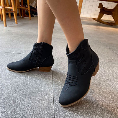Women Ankle Boots Shoes Ladies PU Leather Mid Heel Zipper Fashion Plus Size Boots
