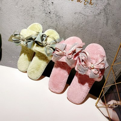 Autumn winter bow pearl sweet cute plush indoor home slippers women