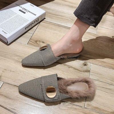 Women winter plush furry slides plaid fashion woman shoes