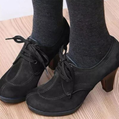 Women Ankle Boots Lace up High Heels Woman Suede Fashion Botas Ladies