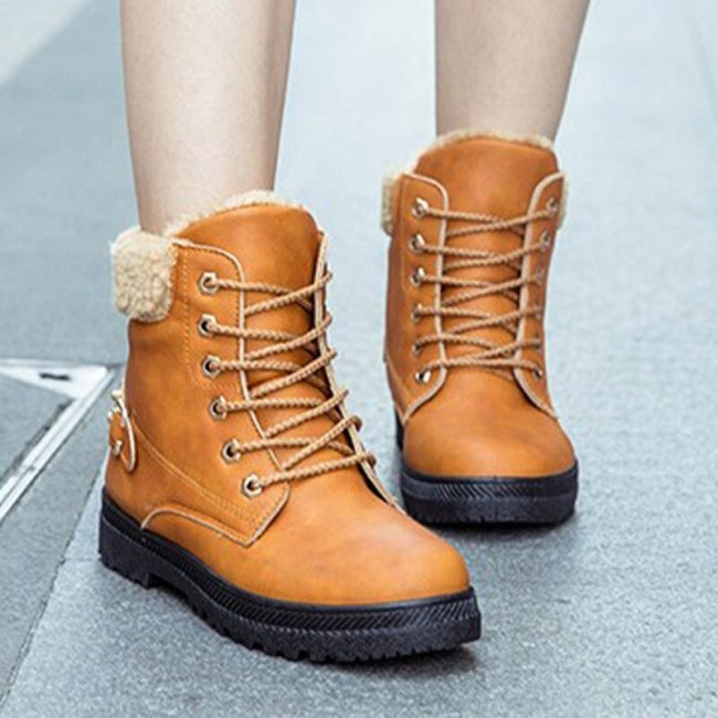 Women's Snow Ladies Boots PU Lace Up Casual Warm Ankle Boots Female Shoes
