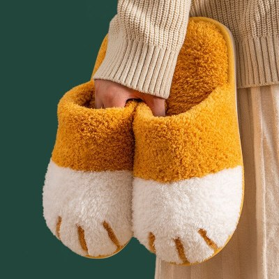 Winter Cute Cat paw Bedroom  Women Furry Women Warm Plush Shoes