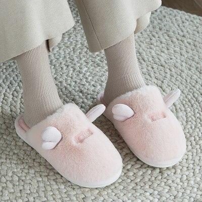 Women Winter Slippers Cute Ears Fur Warm Home Slippers