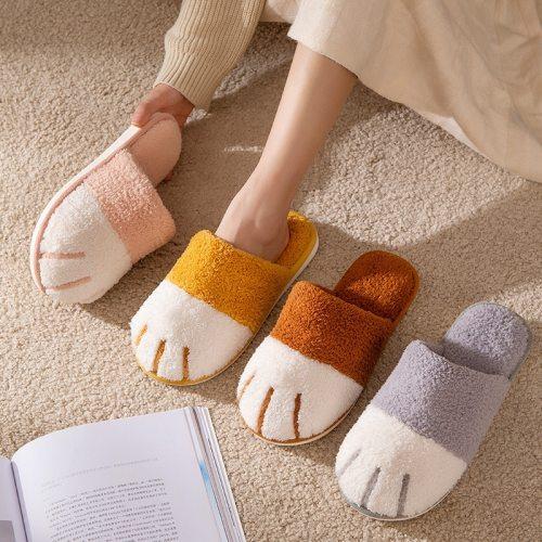Winter Cute Cat paw Bedroom  Women Furry Women Warm Plush Shoes