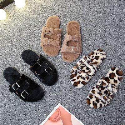 Winter indoor belt buckle plush slide soft furry slides fashion women shoes