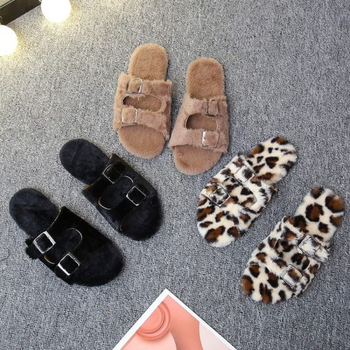 Winter indoor belt buckle plush slide soft furry slides fashion women shoes
