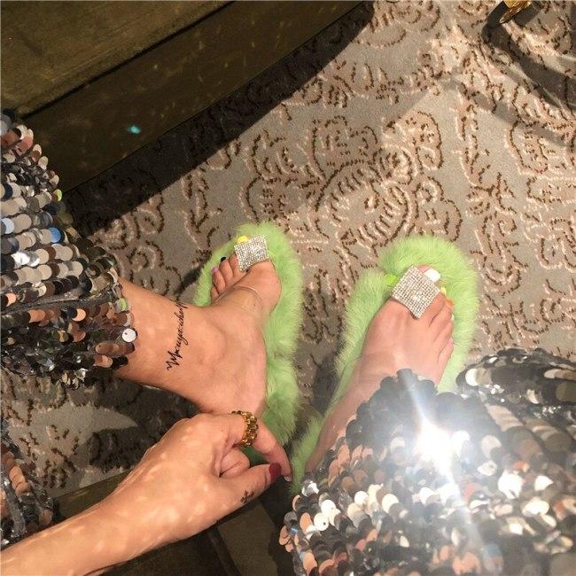 Women Furry Indoor Flip Flops Casual  Fluffy Plush Shoes