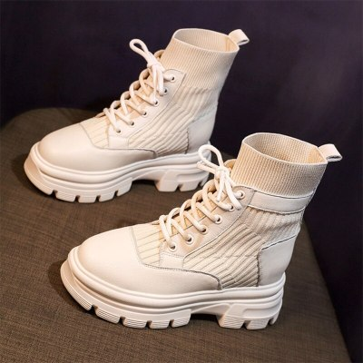 Nude Boots 2020 New Casual Women's Shoes Short Boots Fashion Women's British Style Autumn and Winter Real Soft Leather Round Toe