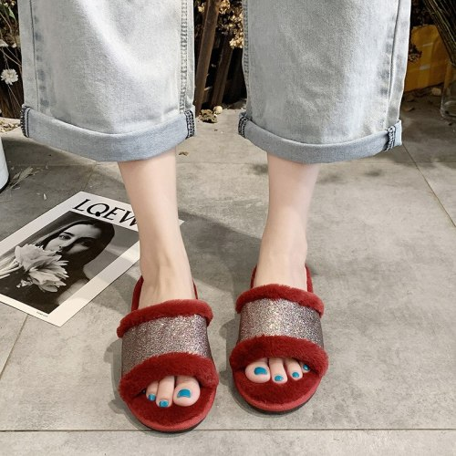 Ladies indoor warm slippers open-toe bling woman furry women sweet shoes