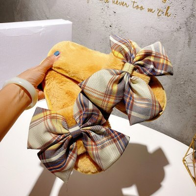 New Autumn winter women shoes Gingham bow sweet ladies slippers cute plush indoor home slippers