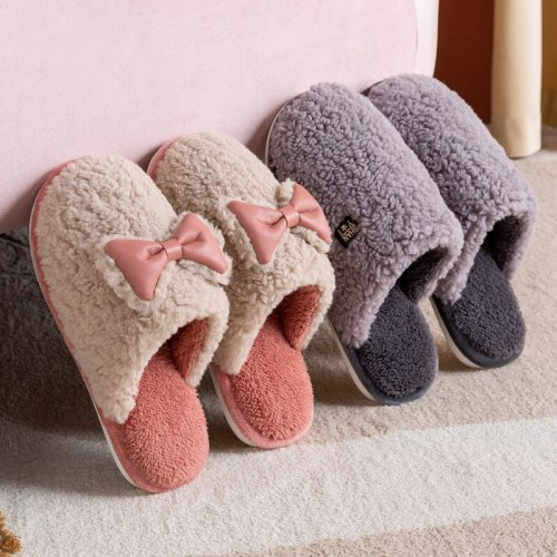 Winter Warm Slippers Bowknot Non-slip Cotton Cute Shoes  Cartoon Indoor Bedroom Lovers Fur Slides Slipper