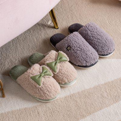 Winter Warm Slippers Bowknot Non-slip Cotton Cute Shoes  Cartoon Indoor Bedroom Lovers Fur Slides Slipper