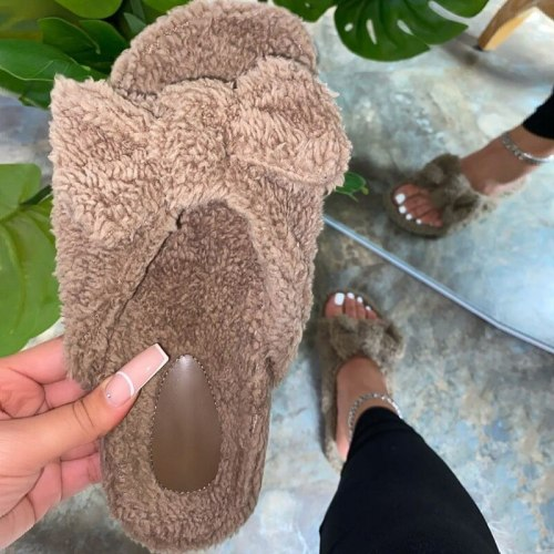 Women shoes cute plush bowknot slides furry slides