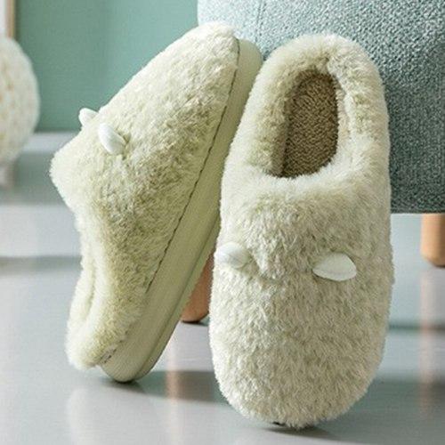 Winter  Plush CottonFlat Thick Heels Shoes  Platform Lovers Fur Slides Slippers