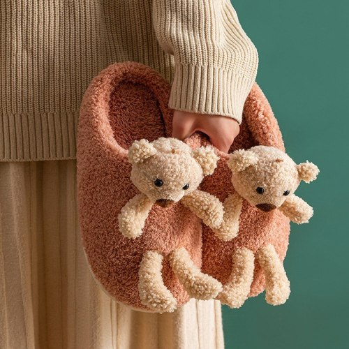 Winter Women Plush Slippers Warm Cartoon Bear Soft Shoes