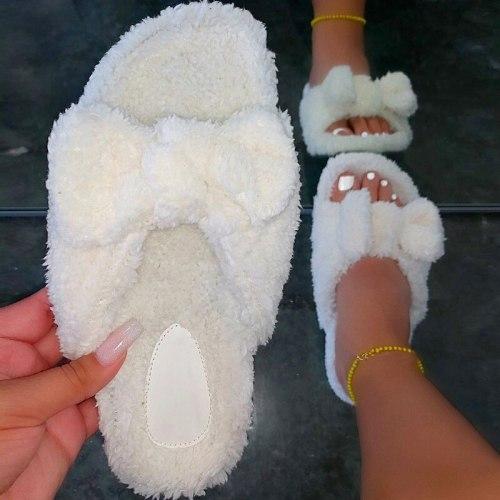 Women shoes cute plush bowknot slides furry slides