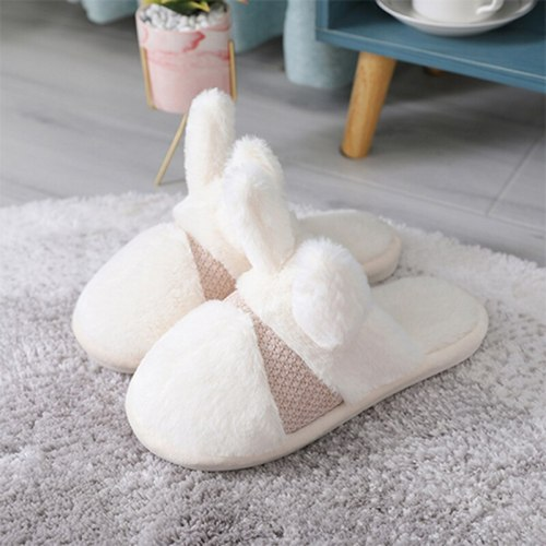 Winter Women Warm Plush Anti Slip Cotton Flat Home Slides Slippers